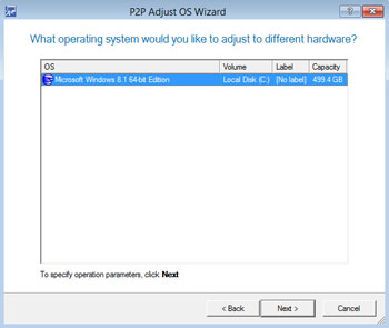 <b>P2P (Physical-to-Physical) Adjust OS Wizard</b><br />This wizard enables to migrate any Windows since XP to a different hardware platform. The wizard reports on devices without drivers; searches for and installs lacking drivers from built-in Windows repositories; notifies about boot critical devices without drivers (HDD/RAID controllers, etc.); names all devices according to their model description, determines and install drivers for physically connected NICs.