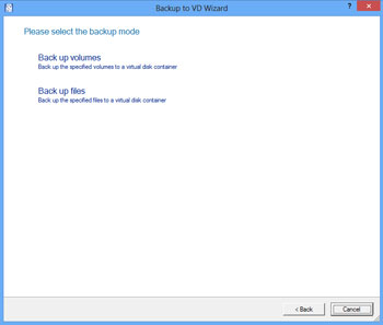 <b>Backup to Virtual Disk Wizard</b><br /> The wizard helps you to back up entire hard disks, separate partitions or selected files and folders to a virtual disk container.