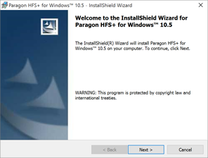 Paragon HFS+ for Windows 欢迎页面
