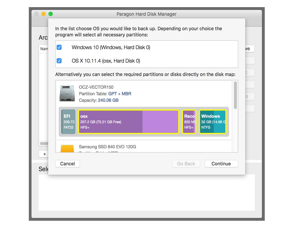 备份 OS X 以及 Windows 分区